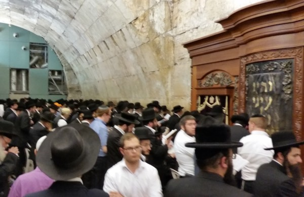 Hundreds of Orthodox Jews Gathered under Wilson's Arch at the Western Wall