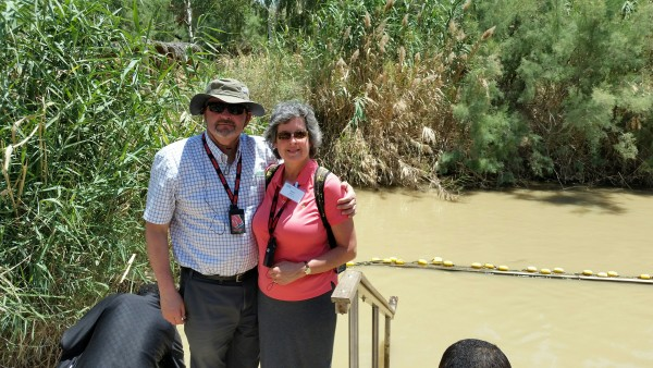 With My Wife at the Jordan River (human water usage has greatly reduced its flow in modern times)